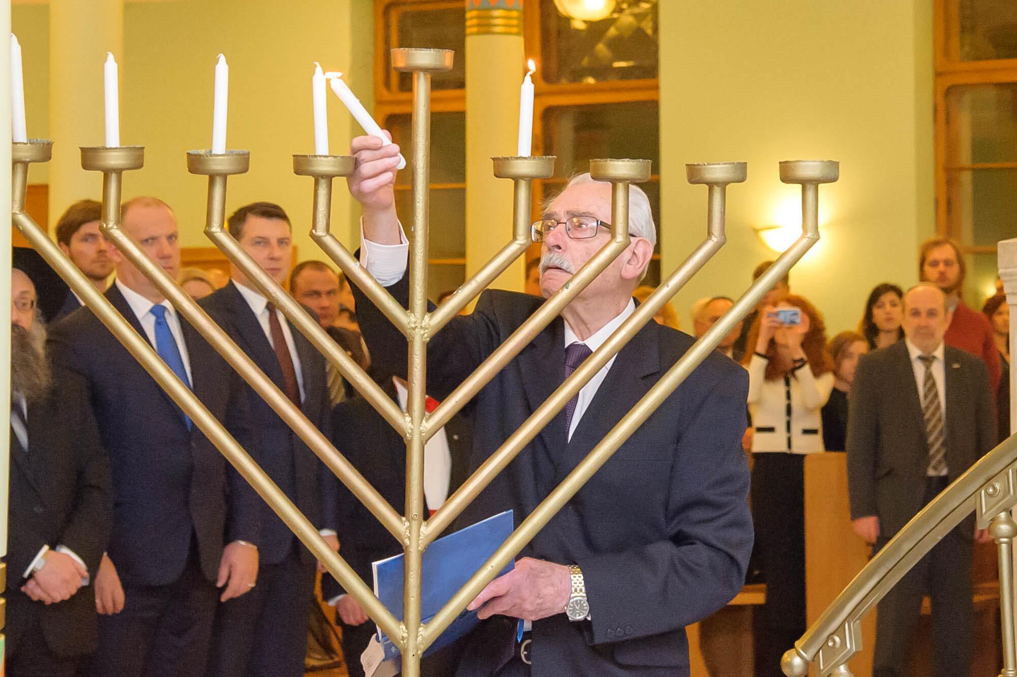 President of Latvia has lit Hanukkah candles